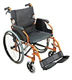 Aidapt Self Propelled Aluminium Deluxe Wheelchair, Lightweight,Cushioned,Funky Colours,Lap Strap, Foldable (Orange)