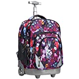 WEISHENGDA 18 inches Wheeled Rolling Backpack for Adults and School Students Short Trip Books Laptop Trolley Bags, Pink Flower