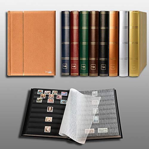 Prophila édition métallique Album pour Timbres, 60 Pages, intérieur Noir (couv. Bronze)