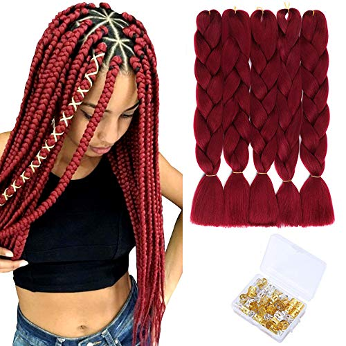 Ombre Kanekalon Braiding Hair Jumbo Braiding Hair Synthetic Hair Extensions for Braiding Crochet Twist Box Braids 24Inch 5 Packs (Wine Red)
