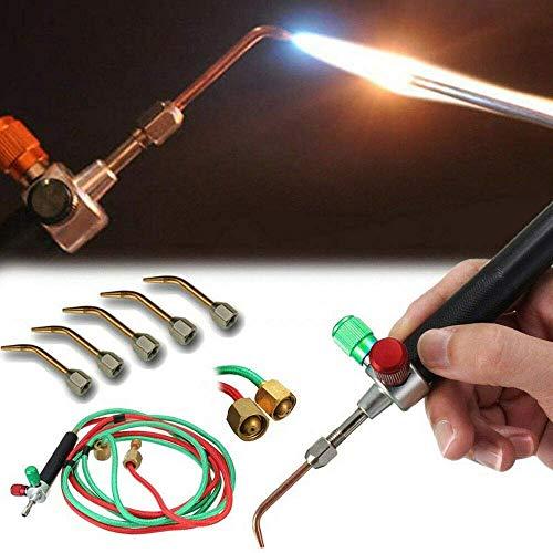 TXHM35 Mini soplete de oxígeno Soldadura Pistola de soldadura Herramientas Multiuso Micro-unión Gas de oxígeno Durable con 5 puntas de soldadura para joyería Herramientas Soldadura de metal