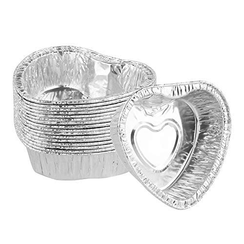 HJKL 125Pcs Aluminum Foil Heart Shape Baking Cups,Disposable Muffin Cupcake Tart Molds Cake Pan Tin Mold Tray,Non Stick Heart Shape Egg Tarts Mold,Ideal for Little Baked Goods Like Pudding,Jelly