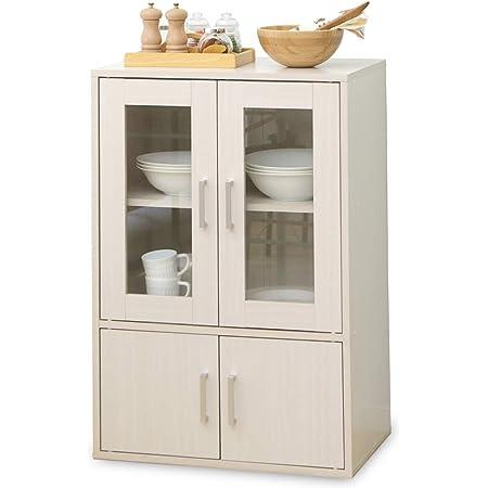 アイリスオーヤマ 食器棚 一人暮らし ミニ スリム 幅60×奥行38.8×高さ90cm オフホワイト GKN-9060