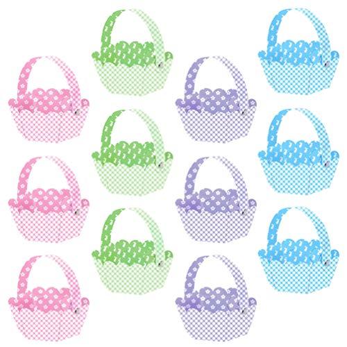 Gadpiparty Bolsas de Pascua para Niños | Haz Tu Propia Cesta | 12 Piezas de Cestas para Regalos Vacías Bolsa de Caza de Huevos
