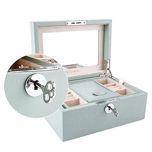 Vlando Organizador retro con cerradura, joyero, collares, pendientes, anillos, caja de almacenamiento con llave, el mejor regalo para mujeres y niñas, color verde aguamarina