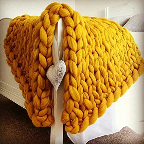 Gigante Knit Matchet Hecho a mano gigante suave gruesa gruesa manta de punto acogedora, sofá Manta Manta de yoga alfombra de la alfombra Decoración de la casa Regalo (Color: Amarillo, Tamaño: 120 * 15