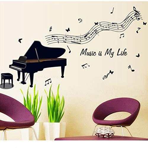 Piano Negro Tocando Notas Musicales Stave Etiqueta De La Pared Habitación De Los Niños Sala De Estar Sala De Estudio Aula De Música Decoración De La Pared Música Pegatinas