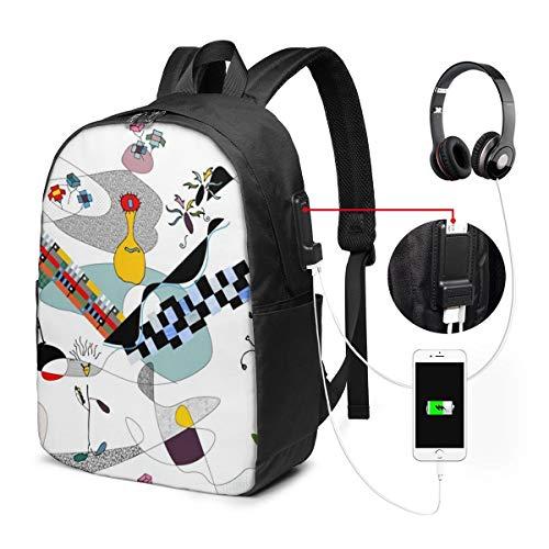 NA Laptop-Rucksack, diebstahlsicher, wasserdicht, Reise-Laptop-Rucksäcke für Männer und Frauen, mit USB-Ladeanschluss, passt unter 17 Zoll Laptop, Bauhaus Dreams