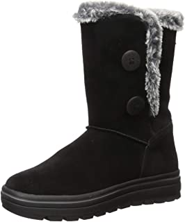 Skechers Women's Street Cleats-Tall Double Button Boot with Fur Trim Fashion