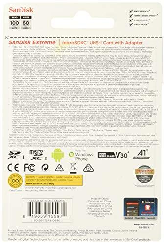 SanDisk Extreme 64 GB microSDXC Speicherkarte + SD-Adapter bis zu 100 MB/Sek, Gold/Rot, Class 10, U3, V30, A1