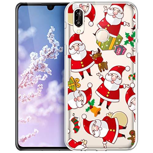 Compatible con Huawei P20 Lite, transparente con Xmas Christmas Snowflake Navidad Schneeflocke ciervos modelo claro...