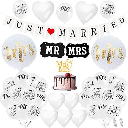 Juego de decoración de boda para recién casados,Just Married Decoracion,Letreros MR y...