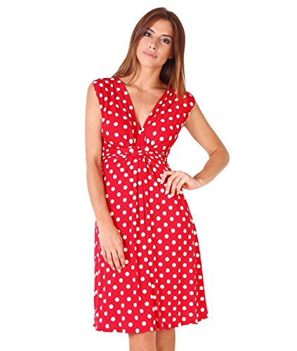 KRISP 6147-Rosso-38: Vestito Svasato