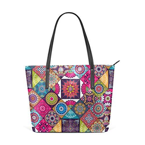 Vintage Bunte indische Ethnische Fliesen Muster Fashion Leder Handtasche Handtasche für Frauen Mädchen
