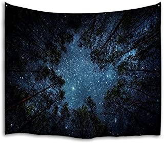 QiyI Forest Galaxy Tapestry Wall Hanging Nature Starry Night Sky Blanket Trees Universe Large Aesthetic Tapestries Psyched...