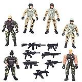 6 Pezzi Action Figure Soldati Giocattolo con Accessori per Armi E Giunti Soldato Militare Polizia Figure Set da Gioco Giocattolo Speciale per Bambini