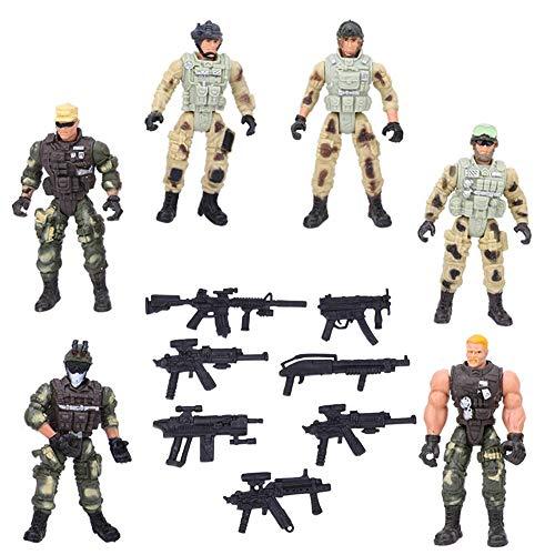 Zerodis Juguete de Figura de Soldado de 6 Piezas, Modelos de Soldados Militares con articulación y Armas Figuras de acción de interacción Entre Padres e Hijos Juguete para niños