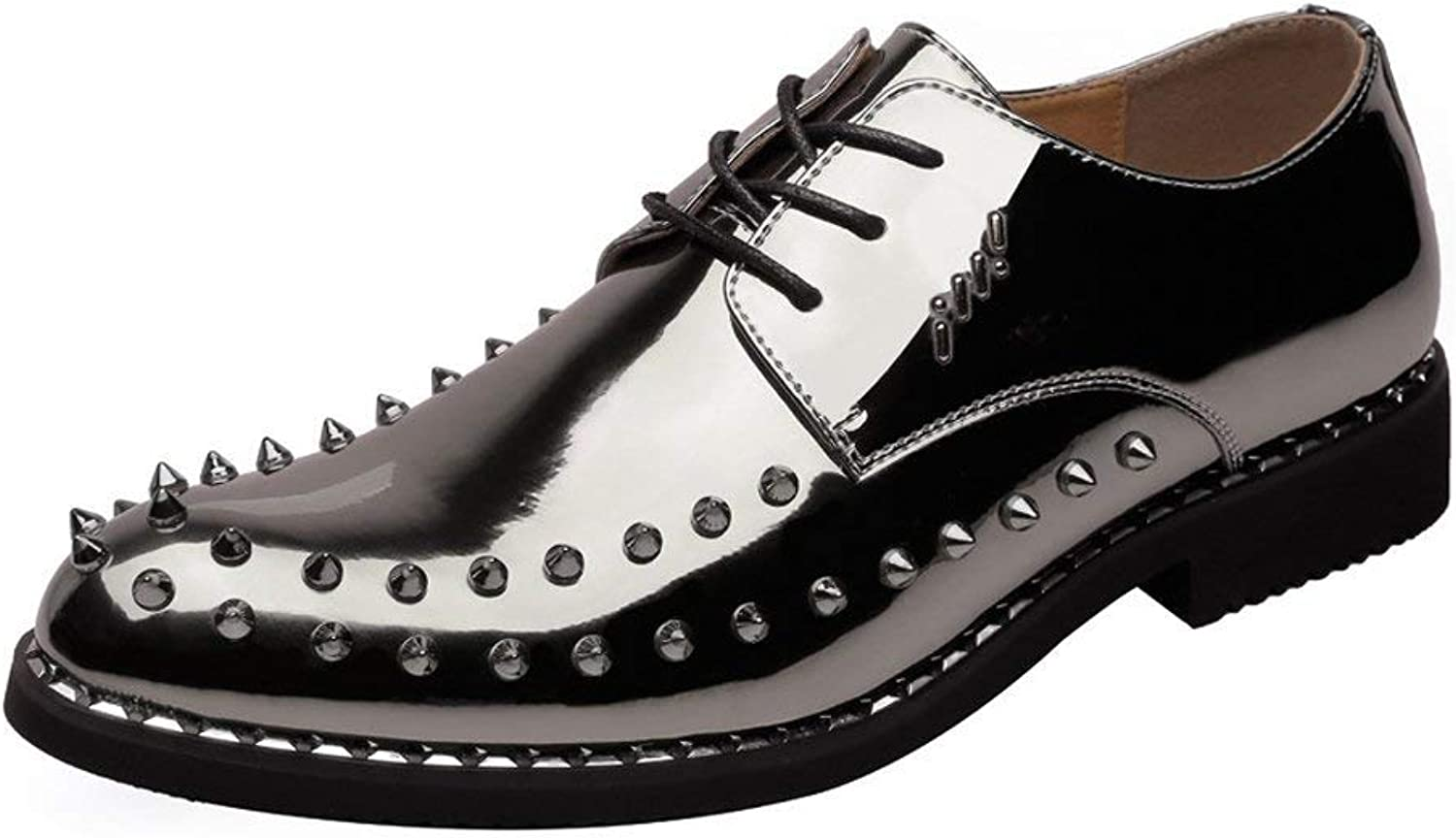 FuweiEncore 2018 Men's Punk Style shoes Smooth Pu Leather Prom Loafer Lace Up Breathable Lined Oxfords with Studs (color  Black, Size  44 EU) (color   Coffee, Size   42 EU)