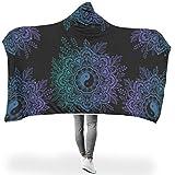 Mantas con Capucha Púrpura Yinyang Lotus Totem Meditación Zen Impresión Cálido Invierno Fleece Mystical TV Computadora Manta Tumbona Sofá Decoración del hogar