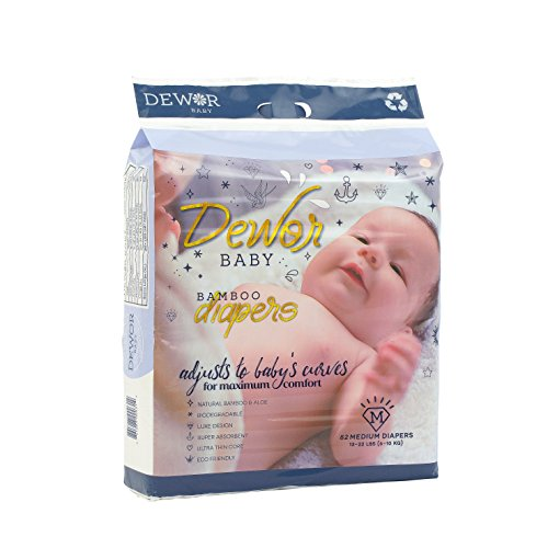 Dewor Baby Premium Bamboo Disposable Diapers,Eco-Friendly Diapers, Diaper Size (Medium - 74 Pack)