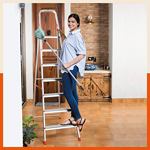 Bathla Advance 7-Step Foldable Aluminium Ladder with Sure-Hinge Technology (Orange)