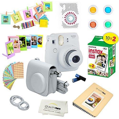 Fujifilm Instax Mini 9 Instant Camera – SMOKEY WHITE + Fuji INSTAX Film (20 Exposures) + Multifarious Instax Accessory Kit BUNDLE Includes; Case/Strap & Album + Fun Frames/Stickers/Lenses + MORE