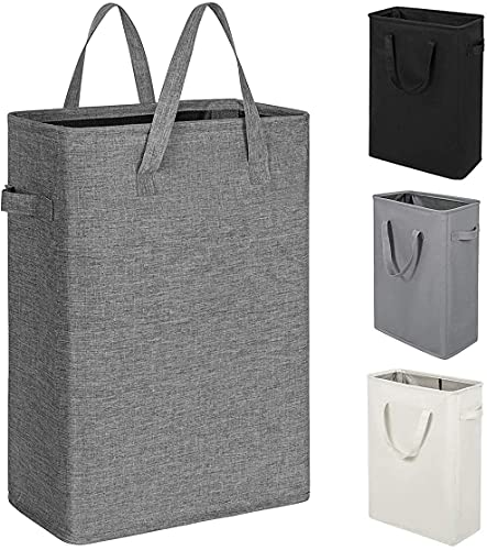 ZERO JET LAG Slim Laundry Hamper Handles Collapsible Laundry Basket Thin Dirty Clothes Basket Narrow Laundry Bag Foldable Dirty Hamper 45L (21 inches,Dark Grey)