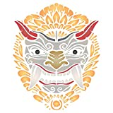 Barong Mask Stencil, 6.5 x 8 inch (S) - Balinese Mythology Panther-Like Creature of Bali Indonesian Stencils Template for Painting