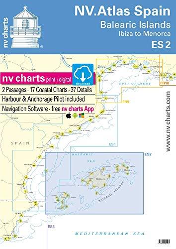 NV.Atlas Spain ES 2: Balearic Islands · Ibiza to Menorca | Seekarte Balearen Papier & digital [NV Verlag / nv charts]