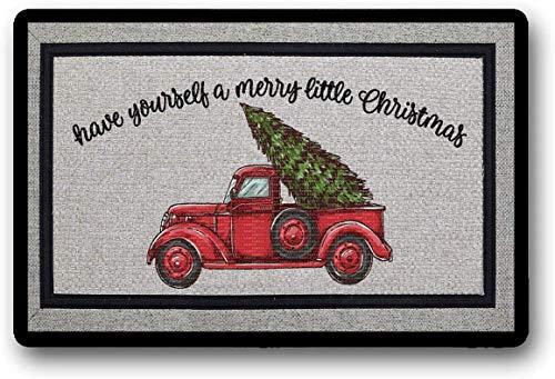 solatman sublimatie deurmat hebben zelf een vrolijk klein kerst vrachtwagen sublimatie ontwerp 45x75CM latex niet-geweven mat Decor tapijt 45CM x 168CM