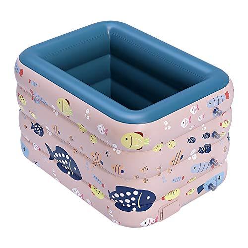 WENCY Piscina Hinchable para Infantil Niños PVC Inflado con un botón para bebés Plegable Fit Summer Garden Juegos Acuáticos Familiares,B,2.1m
