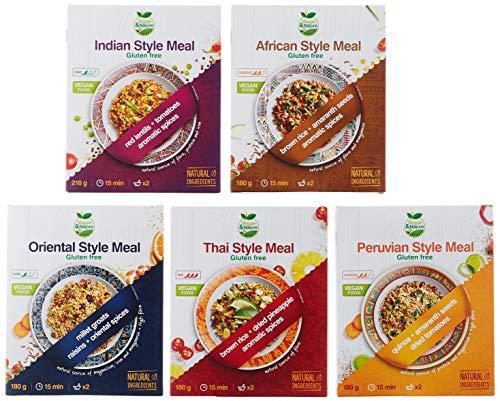 Veggie&Nature Tastes of the World, Kombipackung mit 5 Geschmacksnoten (Indisch (216 g), Afrikanisch (180 g), Orientalisch (180 g), Peruanisch (180 g), Thailändisch (180 g)