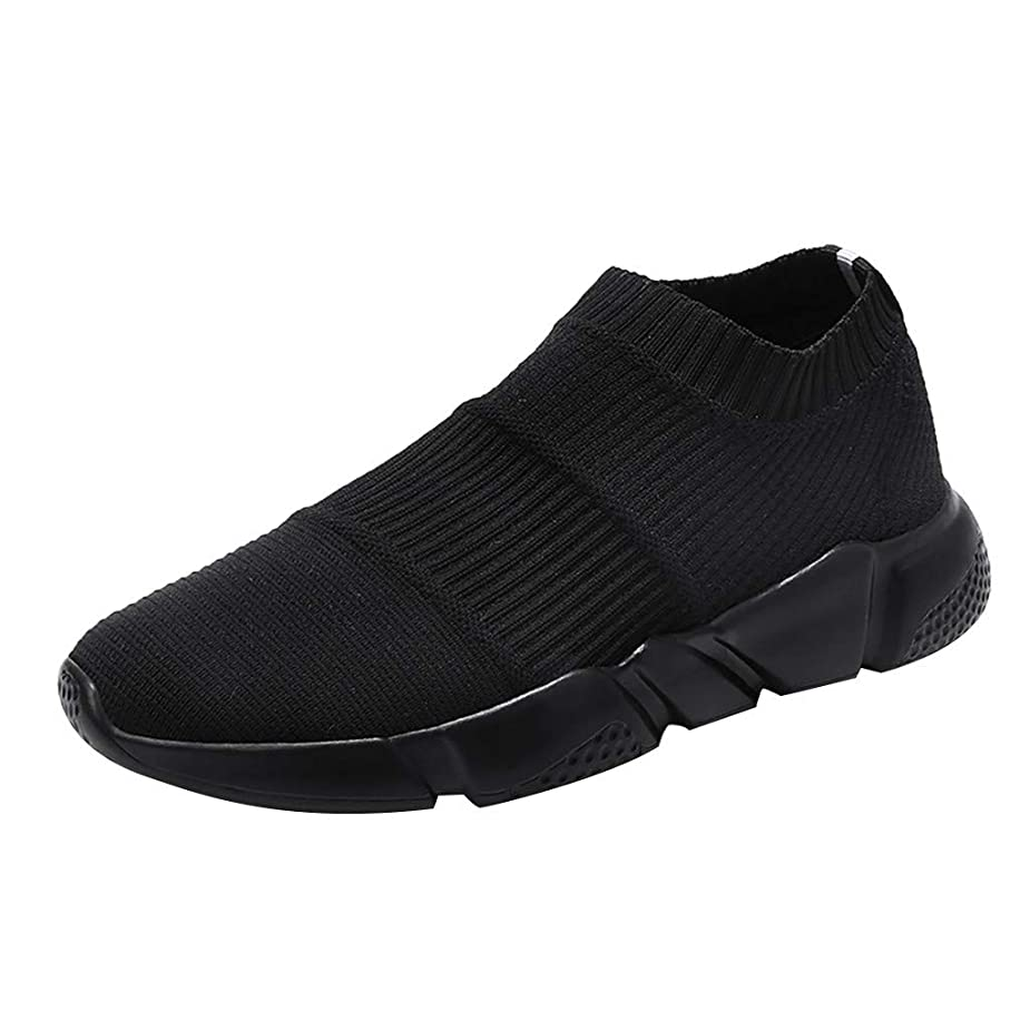 Men Mesh Breathable Sneakers,Mosunx Athletic Boys Woven Mesh Ultra Lightweight Slip On Sport Running Shoes Male Summer Casual Gym Movment Shoes (42, Black) yxcftu5654678