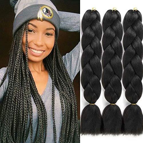 Black Jumbo Braiding Hair 4 Packs Jumbo Crochet Braids 24 Inch High Temperature Synthetic Braiding Hair Extension for Women