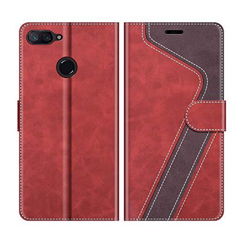 MOBESV Funda para Xiaomi Mi 8 Lite, Funda Libro Xiaomi Mi 8 Lite, Funda Móvil Xiaomi Mi 8 Lite Magnético Carcasa para Xiaomi Mi 8 Lite Funda con Tapa, Rojo