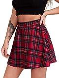 SheIn Women's Summer Basic Plaid Flared Pleated Mini Skater Skirt...