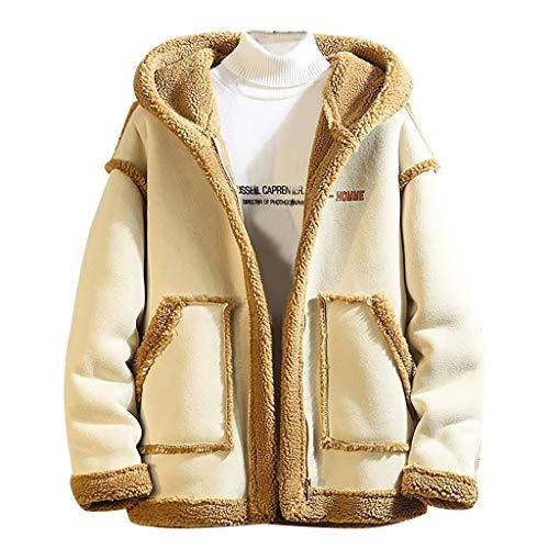 Preisvergleich Produktbild MAYOGO Teddyfleece Jacke Herren Winterjacke Winter Mantel Warm Gefüttert mit Kapuze,  Männer Kunstpelz Mantel Woll Jacke Fleecejacke Winter Jacke