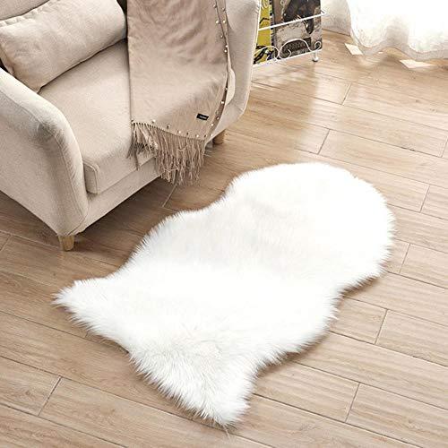 LCZMQRCLMZRQonregelmatig massief tapijt pluche fauteuil voet pad indoor deur mat kruipen mat huis gang woonkamer slaapkamer decoratie, wit, 60x120cm