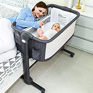 LuckyDove Baby Bassinet,Bedside Sleeper for Baby,6 Adjustable and Easy to Folding Portable Crib,Portable Bedside Crib,with Soft Mattress/Travel Bag,Grey,Baby Safe CPSC,ASTM Certifie