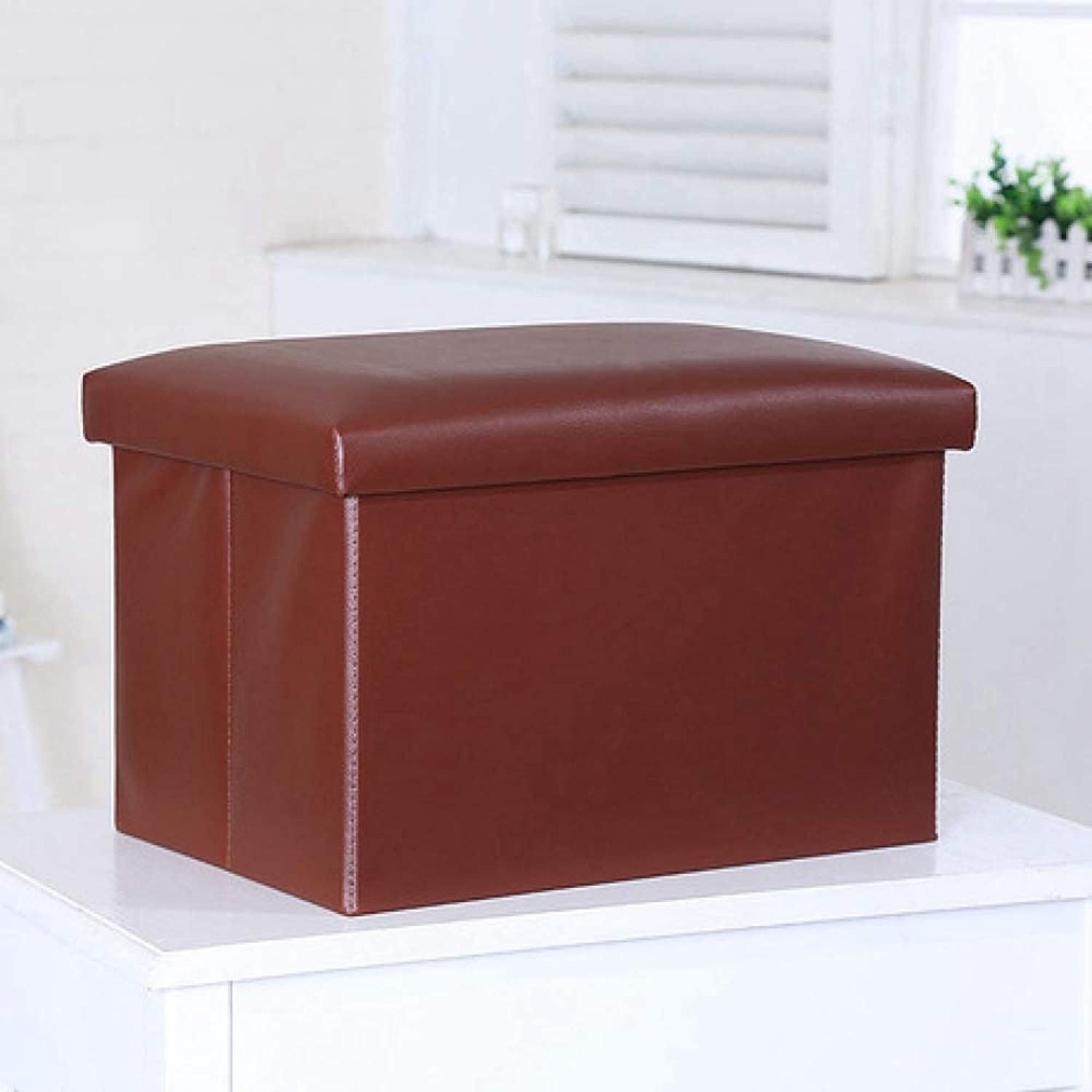 ZhiGe Storage seat,Storage Storage shoes Bench Folding Rectangular Leather Sofa Storage Stool