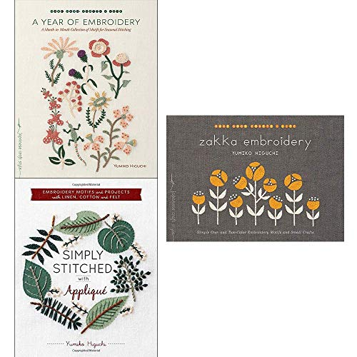 Price comparison product image Yumiko higuchi collection 3 books set (a year of embroidery,  zakka embroidery,  simply stitched with applique)