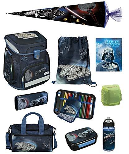 Familando Star Wars Classic Schulranzen-Set 10 TLG. Scooli Easy Fit mit Federmappe gefüllt, Sporttasche und Schultüte 85cm Star Wars Battle