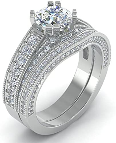 92 5 Sterling Silver Antique Beautiful Engagement Wedding Diamond Ring Set For Women