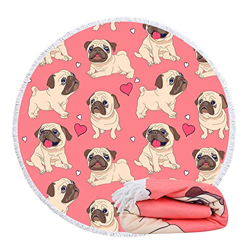 Feelingjoy Round Beach Towel Blanket Roundie for Women Red Heart Pug Microfiber Large 60 Inches...