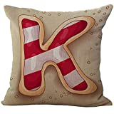 ice cream bar couch - Mesllings 26 Alphabets Dessert Printed Chair Seat Back Cushion Cover Throw Pillow Case Slip Sham Slipover Pillowcase for Saloon Club Pub Bar Sofa Bench Couch K Strawberry Ice Cream