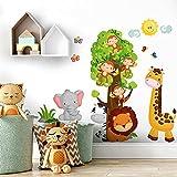 R00355 Adesivi Murali Soffice Effetto Tessuto Animali Savana Zoo Decorazione Muro Bambino Neonato Nursery Cameretta Asilo Nido Carta da Parati Adesiva