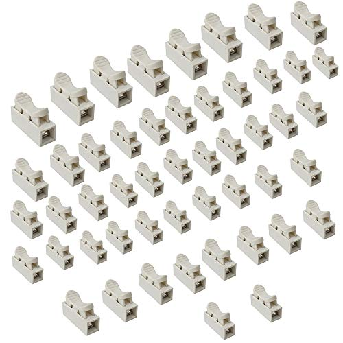50 Stück Weiß CH1 Federverbindungsstück, Klemmverbinder Kabel Stecker Drahtklemmen, Schnellanschlussklemme, 1 Pins Kabel Stecker,Stoßverbinder,die LED Streifen Licht Draht Anschluss