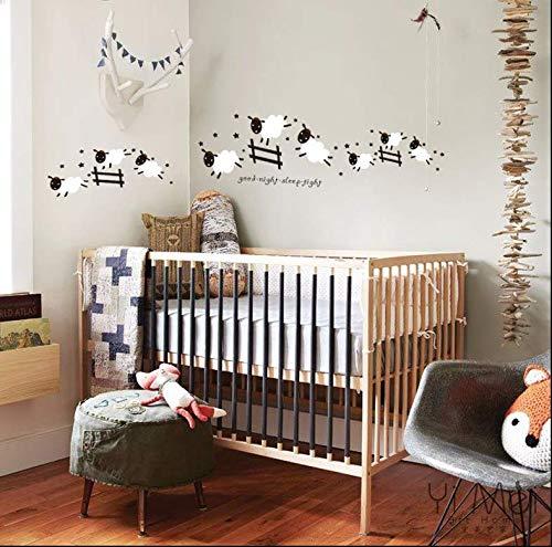 Liwedi Cartoon Nette Springende Schafe Zaun Tapete Entfernbare Wandaufkleber Kunst Aufkleber Für Baby Kinder Mädchen Wohnzimmer Schlafzimmer Wohnkultur 40 * 120 Cm