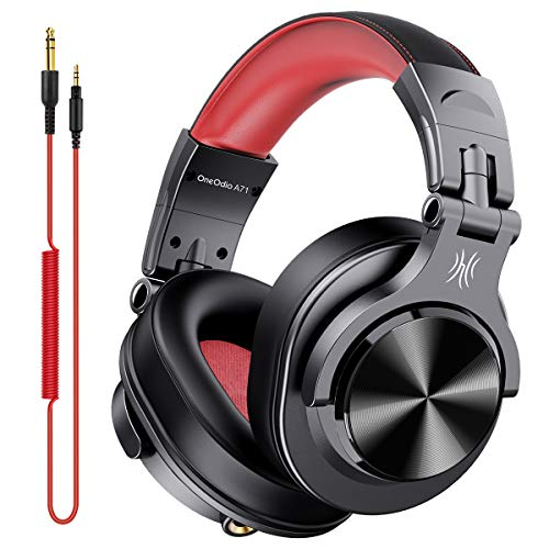 OneOdio DJ Wired Headphones with Mic Monitor Headphones Sealed for Instrument Practice Home Record DTM A71 Red