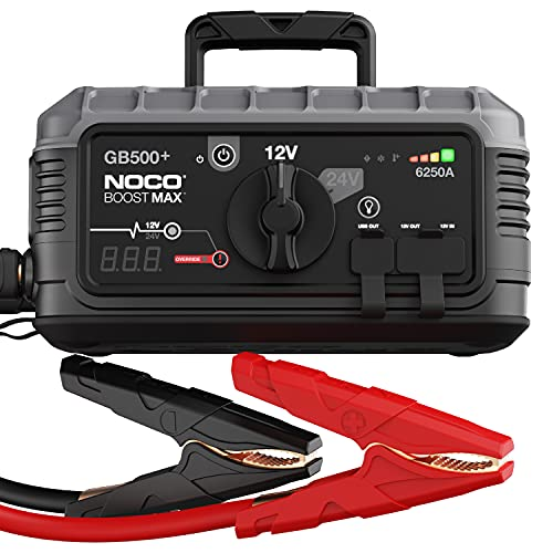 NOCO Boost Max GB500 6250 Amp 12-Volt And 24-Volt UltraSafe Portable Lithium Jump Starter Box, Battery Booster Pack, And Commercial Jumper Cables for Gasoline And Diesel Engines Up To 45-Liters